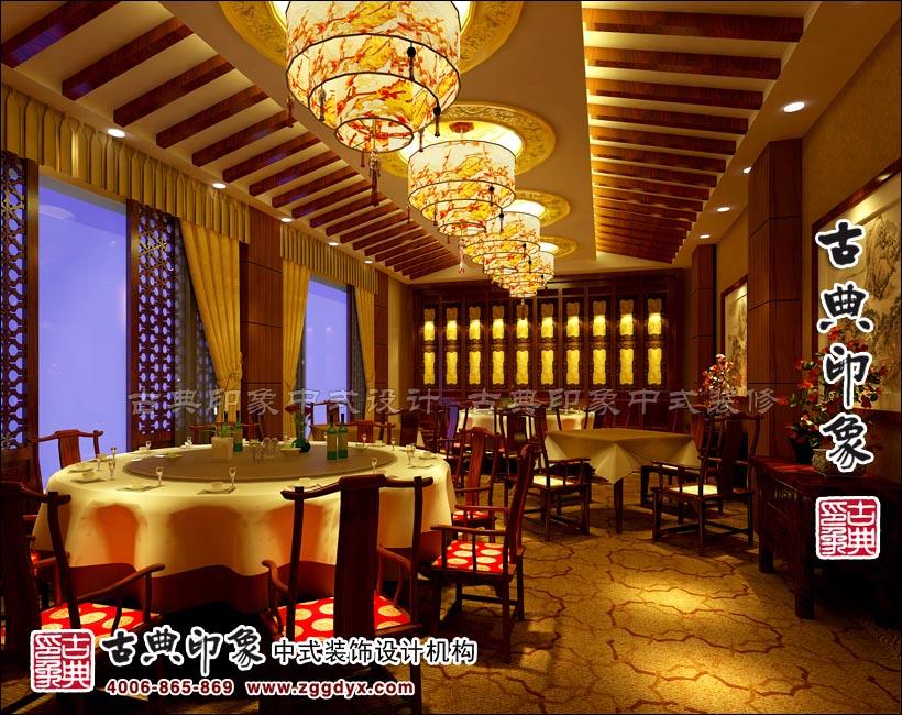 中式酒店包间顶部光环花漾吊灯 正定御王食府 实景效果图