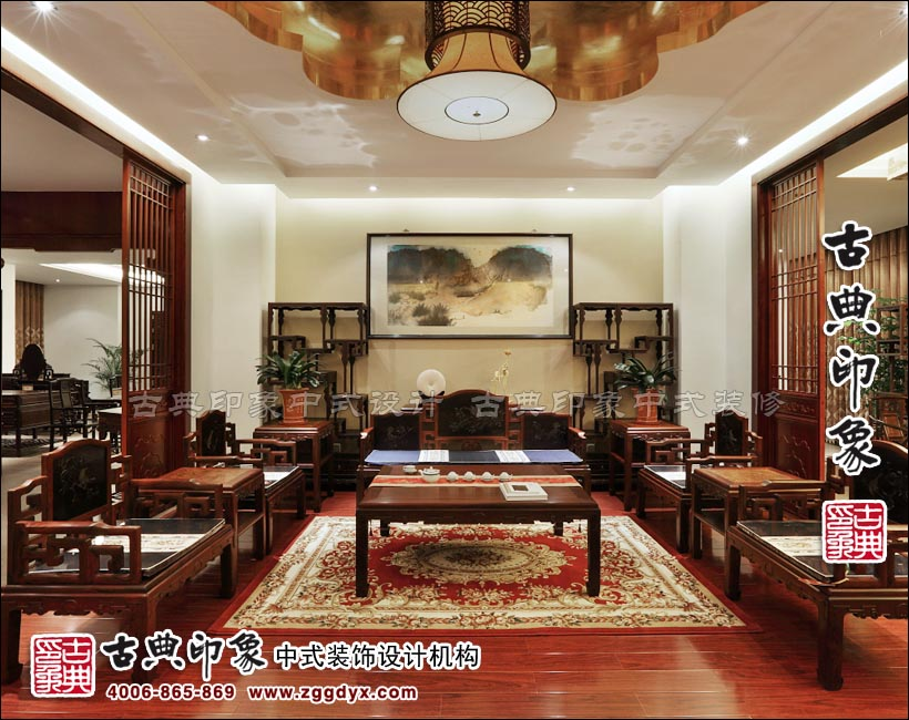 福建仙游懷古紅木家具展廳中式裝修竣工照片——熔古