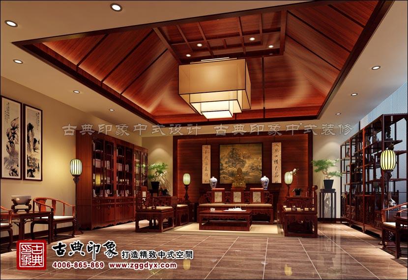 古典红木家具品牌店面中式设计效果图