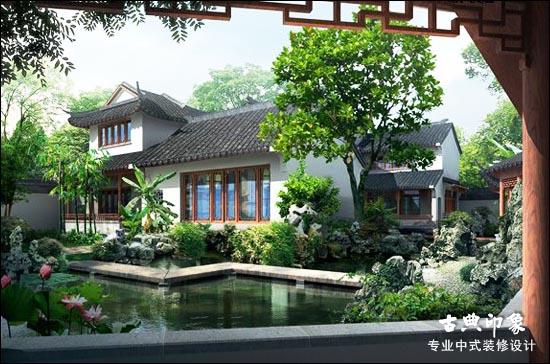 中式设计别墅庭院的布景手法