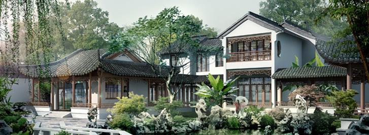 上海太湖之星江南园林四合院别墅中式设计   中式装修,中式设计,中式